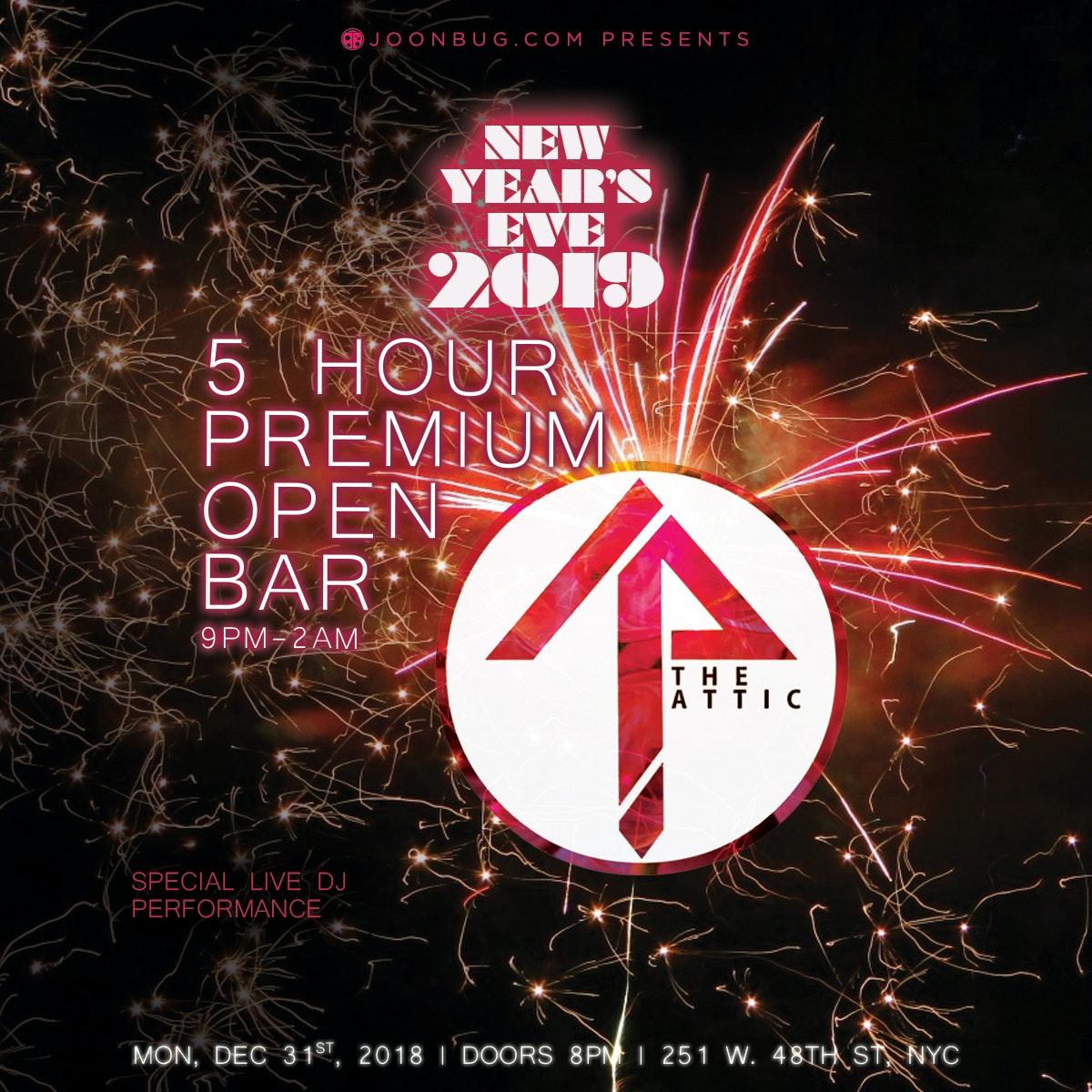 The Attic Rooftop & Lounge New Years Flyer