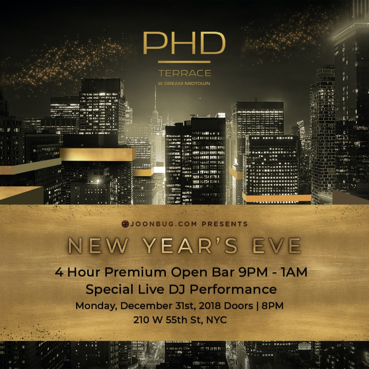 PHD Terrace at Dream Midtown Hotel New Years Flyer