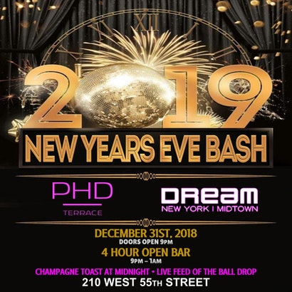 PHD Terrace At Dream Midtown Hotel New York Years Eve Party