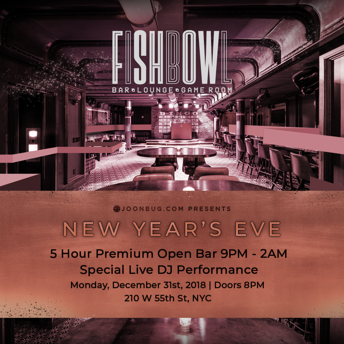 Fishbowl at Dream Midtown Hotel New Years Flyer
