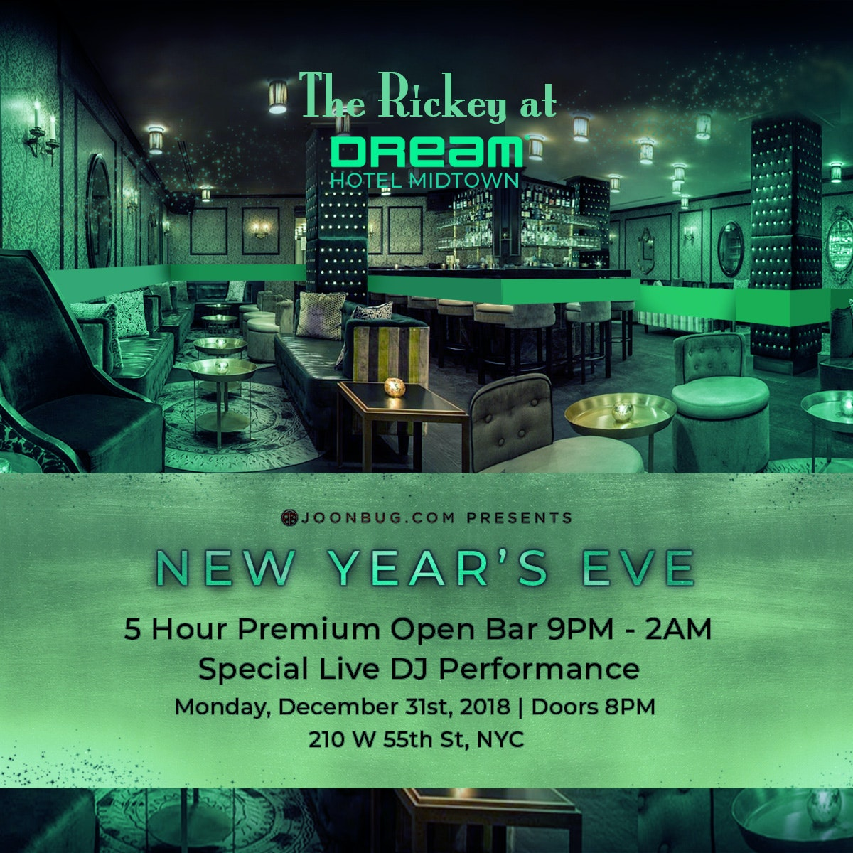 The Rickey at Dream Midtown Hotel  New Years Flyer
