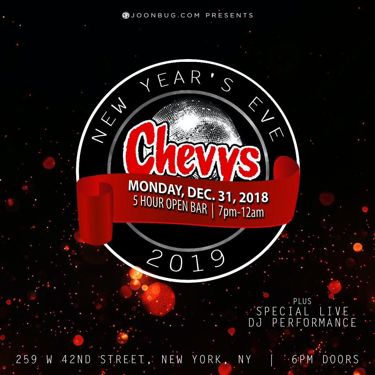 Chevys Times Square New Years Flyer