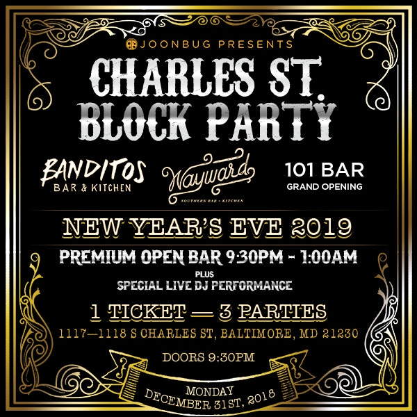 Charles Street NYE Party - Federal Hill New Years Flyer